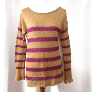 LOFT Womens L Tan/Purple Sweater